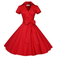 Retro Short Sleeve V-neck A-line Belt Dress
