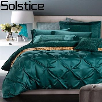 Solstice High Quality Luxury Solid Color Cotton Pinch Pleat Satin 4pc Bedding Sets Bed Linen Duvet Cover Set Bed Sheet/King Size