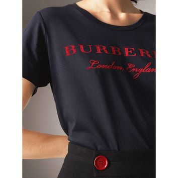 Burberry Round Neck Logo Flag Cotton Tee Shirt Top B-KWKWM Navy blue