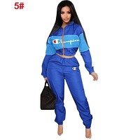 Champion Popular Women Long Sleeve Shirt Sweater Pants Sweatpants Set Two-Piece Sportswear 5#