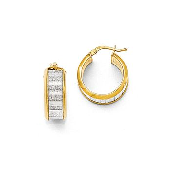 8mm Glitter Inlay Round Hoop Earrings in Gold Tone Silver, 20mm