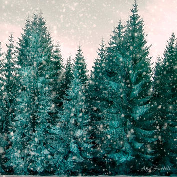 Winter Photography, Holiday Decor, Christmas Tree Photo, Snow Forest, Pine Tree, Emerald Green, Green, 8x8