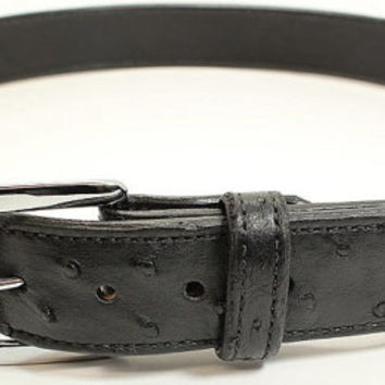 "Genuine Black Ostrich Hide Belt - Real Ostrich Leather - Free Shipping, Lifetime Warranty, and Made to Order - Sizes 30"" to 46"""