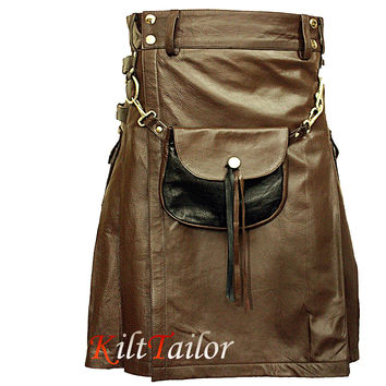 Brown Leather Kilt With Leather Sporran