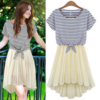 Stripe Tie-Waist And Asymmetrical Pleated Chiffon Dress