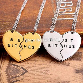 HOT Broken Heart Pendant Necklace Chain Best Friend Best Bitches Necklace For Women Jewelry