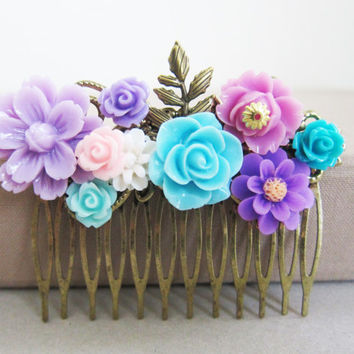 Lilac Turquoise Wedding Hair Comb Purple Plum Orchid Wisteria Aqua Mint Blue Flowers Floral Head Piece Autumn Fall Bridesmaid Gift Hair Pin
