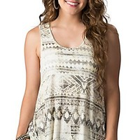 Rock & Roll Cowgirl Women's Grey & Yellow Aztec Print Racerback Tank