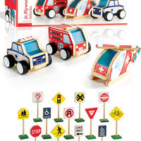 Guidecraft Jr Plywood Community Vehicles with 13 Block Traffic Signs