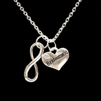 Infinity Bridesmaid Gift Bridal Wedding Party Necklace