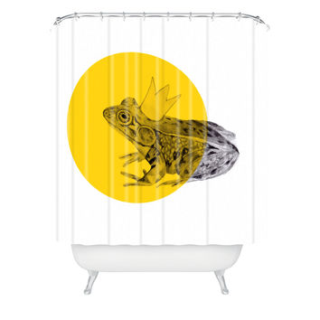 Morgan Kendall Gold Frog Prince Shower Curtain