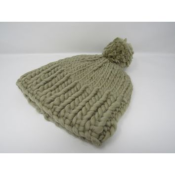 Handcrafted Knitted Hat Beanie Green Pom Pom 100% Merino Wool Female Adult -- New No Tags