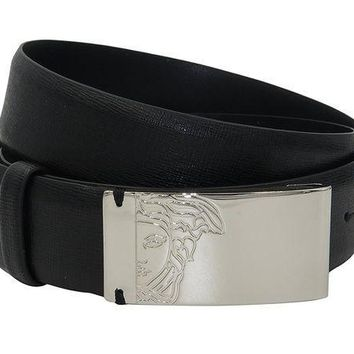 ESBON VERSACE COLLECTION Black Saffianio Leather Medusa Buckle Belt 158 43
