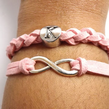 Personalized Infinity Bracelet Spring Colors - Made in USA - Faux Leather - Microfiber Suede - valentine gift - birthday gift
