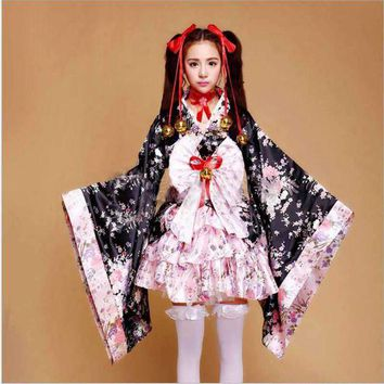 ONETOW Cherry Blossom Costumes Cosplay Anime Outfits Japanese Kimono Maid Outfits Lolita Princess Dress