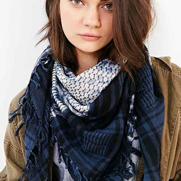 Over-Dyed Print Mix Square Scarf- Blue Multi One
