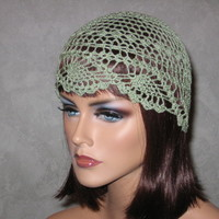Crocheted Pineapple Lace Skullie -Frost Green Size M | Luulla