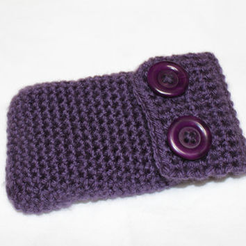 Purple Cell Phone Case, Crochet