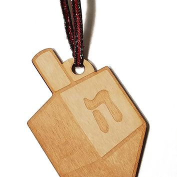 Dreidel Hanukkah Laser Engraved Wooden Christmas Tree Ornament Gift Seasonal Decoration