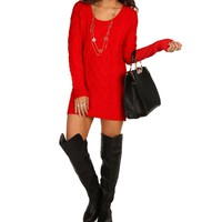 Sale-red Cable Knit Sweater Tunic