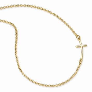 925 Sterling Silver Yellow Gold-plated Small Sideways Curved Cross Necklace
