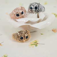 Vintage Owl Face Ring in 3 Colors