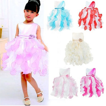 iEFiEL Fashion Fancy Ruffles Flower Girl's Kid's Wedding Party Pageant Dresses Ball Gowns Dress