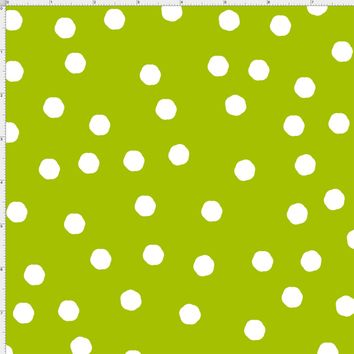 Jumbo Dots Green / White Fabric