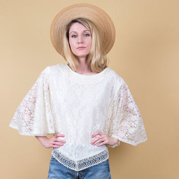 white lace bell sleeve blouse / Vintage 80s scallop bohemian peasant top / sheer illusion boho hippie tunic romantic gypsy