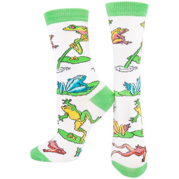 Frogs On Lily Pad & Branch Women's Socks