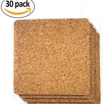 Cork Drink Coasters 18quot Thick 30 Pack  Home Bar and Kitchen Essential  Blank Reusable Absorbent Ecofriendly DIY Project Tile Craft Board  Restaurant Cafe Wedding Supplies and Accessories