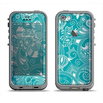 The Turquoise Fancy White Floral Design Apple iPhone 5c LifeProof Fre Case Skin Set