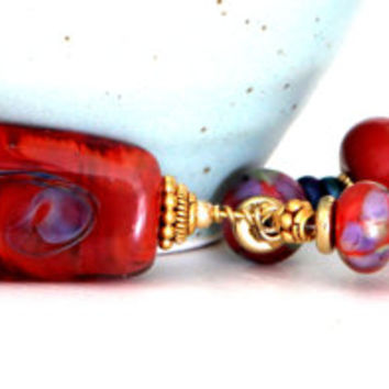 Artisan Red Beaded Necklace. Rust Red Lampwork Focal Bead Necklace. Glass Beaded Jewelry. GF Bali Beads. Lampwork Jewelry.