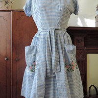 Vintage Swirl Wrap Dress - Blue and White with Embroidered Flowers & Fence on Pockets - 34 bust