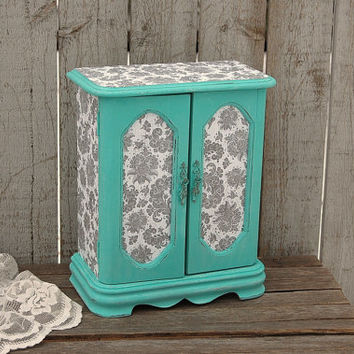 Shabby Chic Jewelry Box, Jewelry Armoire, Tiffany Blue, Aqua, Grey, Hand Painted, Decoupage, Distressed