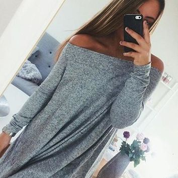 Streetstyle  Casual Grey Draped Boat Neck Long Sleeve Loose Off Shoulder A Line Mini Dress