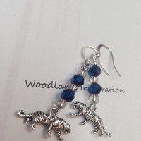Unversity of Memphis Tigers earrings, Go Tigers Go! Blue and gray earrings