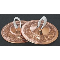 "Embossed Copper Plated Brass Finger Cymbals Zills 2.25"" diameter Belly Dancing"