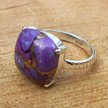 Purple Turquoise Ring - Sterling Silver Ring - Handmade Ring - Cocktail Ring - Natural Stone Ring, Gift Ring - Prong Set Ring, Cabochon Ring
