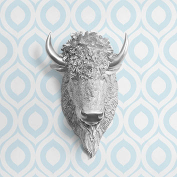 The Yellowstone Silver Faux Bison Head