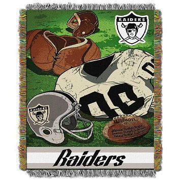"Oakland Raiders NFL Vintage 48""x 60"" Woven Tapestry Throw"