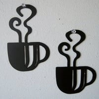 Coffee Cup Wall Art Duo Metal Wall Decoration