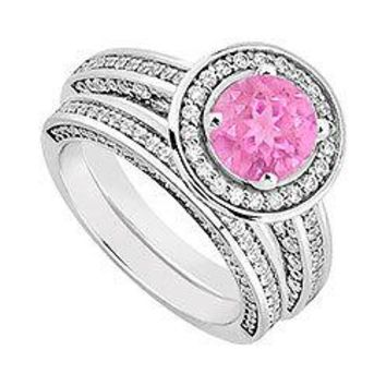 14K White Gold Pink Sapphire & Diamond Engagement Ring with Wedding Band Sets 1.55 CT TGW