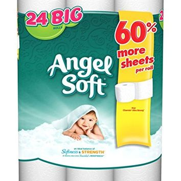 Angel Soft 2-Ply Bathroom Tissue, 198 sheets/roll, 24 rolls/pk
