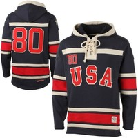 Old Time Hockey USA Hockey 2014 Winter Olympics 1980 Sawyer Home Lace Pullover Hoodie Sweatshirt - Navy Blue