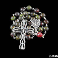 Anglican Rosary Beads Red Green Dragon Blodd Jasper Natural Stone Prayer Beads Silver Christian Episcopal