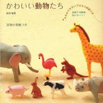 Kawaii & Lovely Animals made of 20cm Felts by Tomomi Maeda - Japanese Felt Craft Pattern Book - B169