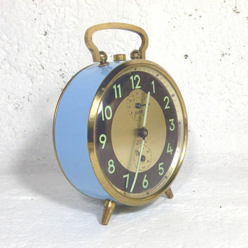 Blue German alarm clock, vintage alarm clock, blue alarm clock, mechanical clock, illuminated clock, retro clock, wehrle repetition