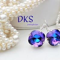 Crystal Heliotrope, Swarovski 12mm Square Earrings,Bridal, Purple AB, Lever Back, Silver, Drop, Dangle, DKSJewelrydesigns, FREE SHIPPING