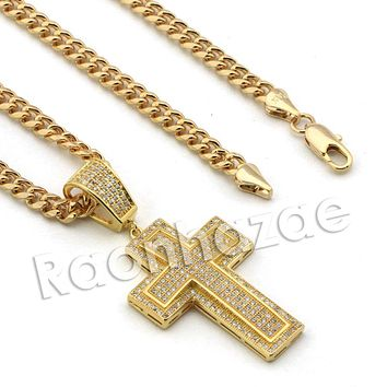 Lab diamond Micro Pave Uzi Jesus Cross w/ Miami Cuban Chain BR097